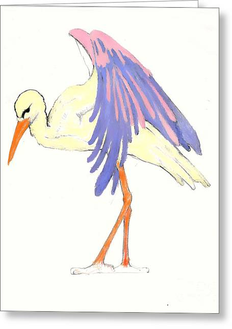 Baby Room Drawings Greeting Cards - Baby Stork Greeting Card by Rene Holovsky