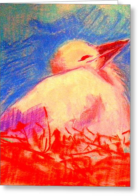 Whimsical. Greeting Cards - Baby stork Greeting Card by Sue Jacobi