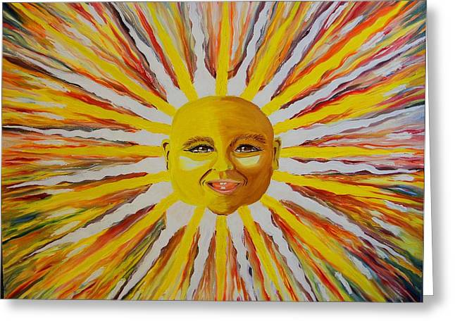 Prisma Colored Pencil Paintings Greeting Cards - Baby Sun 2 Greeting Card by Ru Tover