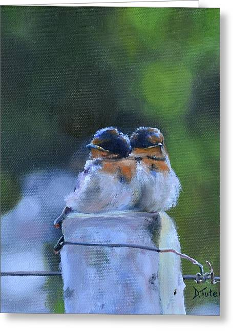 Swallow Chicks Greeting Cards - Baby Swallows on Post Greeting Card by Donna Tuten