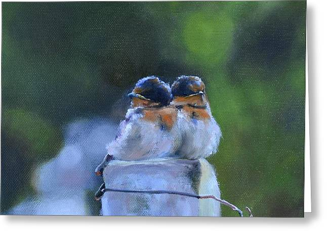 Baby Swallows on Post Greeting Card by Donna Tuten