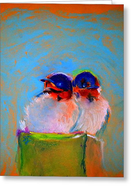 Hungry Chicks Greeting Cards - Baby Swallows Greeting Card by Sue Jacobi