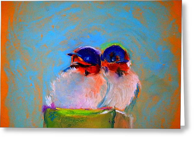 Hungry Chicks Paintings Greeting Cards - Baby Swallows Greeting Card by Sue Jacobi