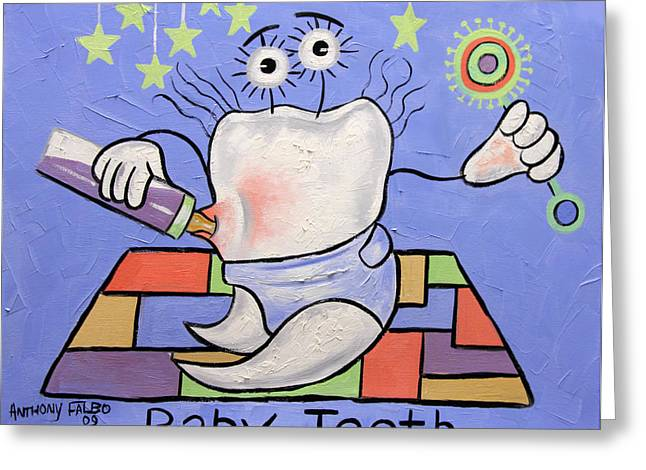 Cubist Digital Art Greeting Cards - Baby Tooth Greeting Card by Anthony Falbo