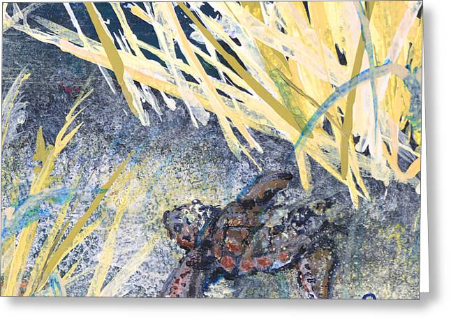 Sea Grass In The Sand Greeting Cards - Baby Turtle to Sea 2 Greeting Card by Troy Schroeder