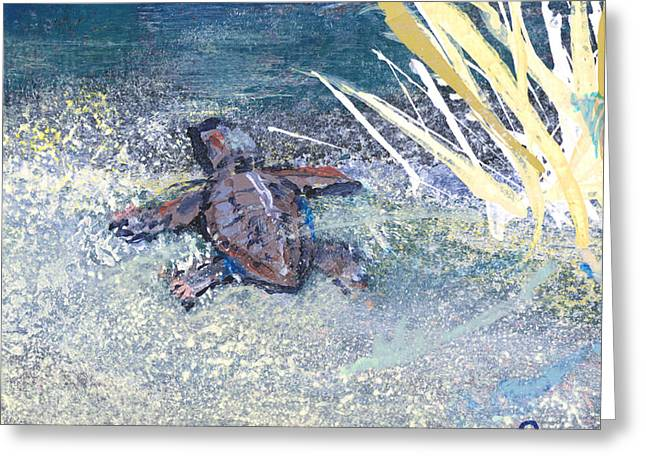 Sea Grass In The Sand Greeting Cards - Baby Turtle To Sea Greeting Card by Troy Schroeder