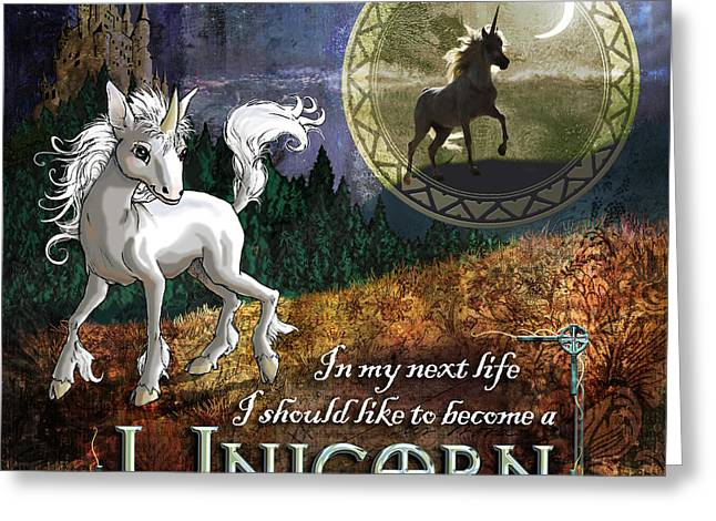 Wood Castle Greeting Cards - Baby Unicorn Greeting Card by Evie Cook