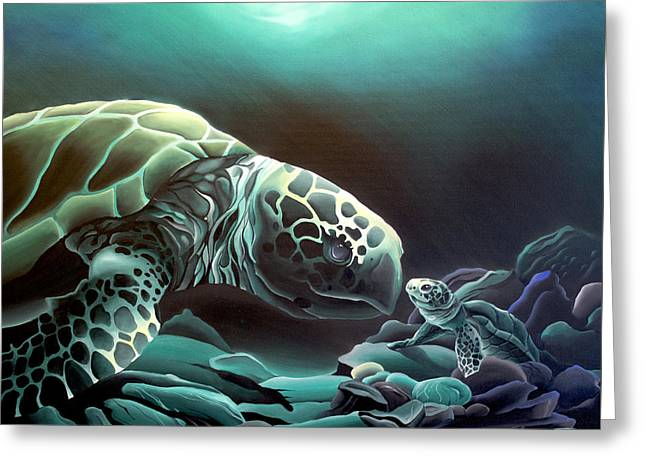 Mother And Baby Turtle Greeting Cards - First Hello Greeting Card by William Love