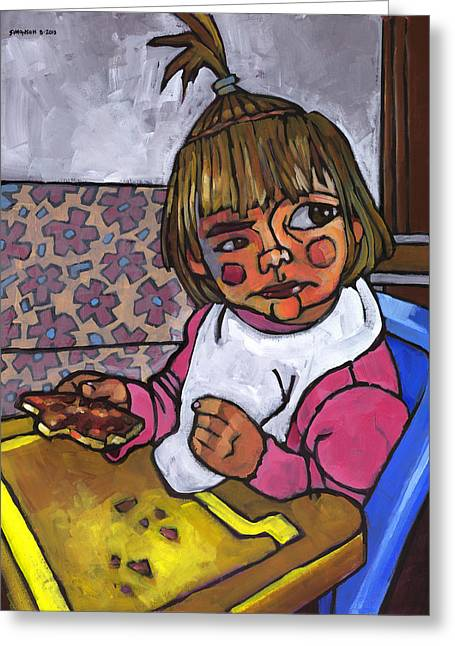 Baby Girl Greeting Cards - Baby with Pizza Greeting Card by Douglas Simonson