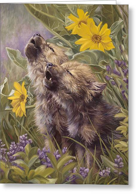 Wolf Greeting Cards - Baby Wolves Howling Greeting Card by Lucie Bilodeau
