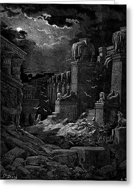 Dore Paintings Greeting Cards - Babylon Fallen Greeting Card by Celestial Images