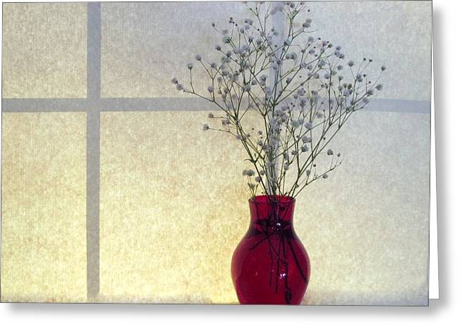 Babys Breaths Greeting Cards - Babys Breath In Red Vase Still Life Greeting Card by Patricia Sundik