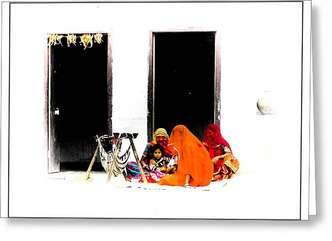 Sheds Greeting Cards - Babys Cradle in the Courtyard Indian Village Rajasthan 1b Greeting Card by Sue Jacobi