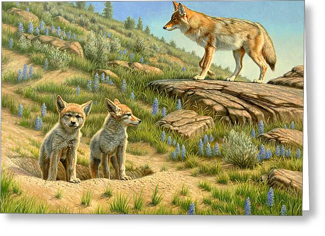 Yellowstone Wildlife Greeting Cards - Babysitter  -  coyotes Greeting Card by Paul Krapf