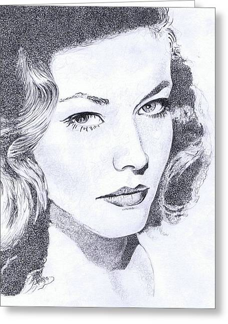 Starlet Drawings Greeting Cards - Bacall Greeting Card by Paul Smutylo