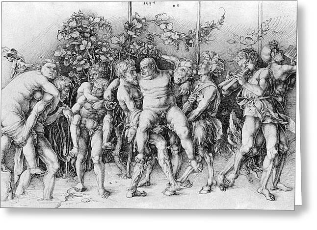 Grape Vineyards Greeting Cards - Bacchanal With Silenus - Albrecht Durer Greeting Card by Daniel Hagerman