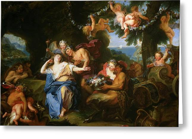 Bacchus And Ariadne On The Isle Of Naxos Greeting Card by Antoine Coypel