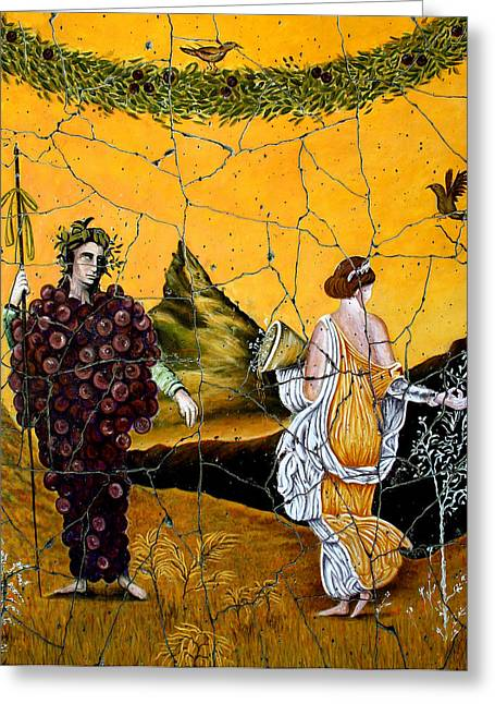 Fresco Greeting Cards - Bacchus and Flora - Study No. 1 Greeting Card by Steve Bogdanoff