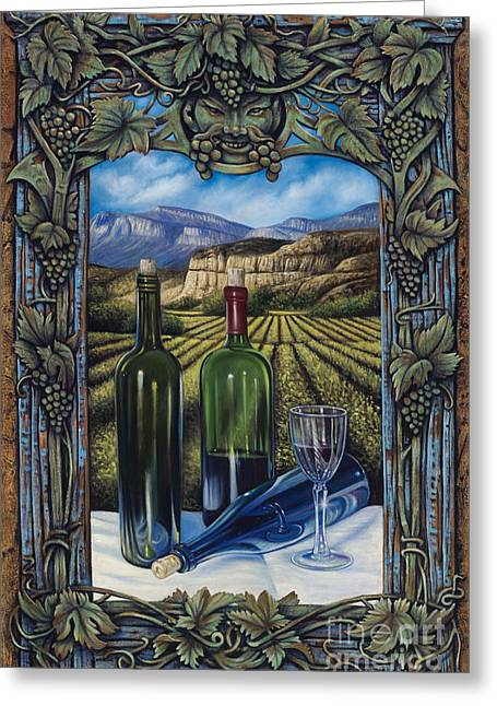 Deity Greeting Cards - Bacchus Vineyard Greeting Card by Ricardo Chavez-Mendez
