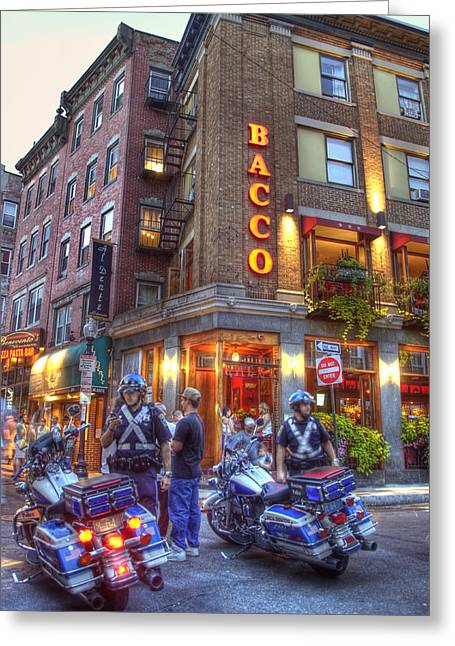 Italian Restaurant Greeting Cards - Bacco in the North End Boston Greeting Card by Joann Vitali