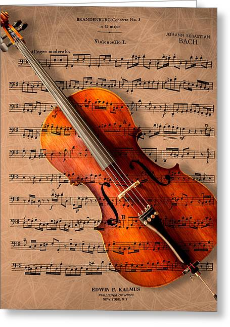 Instruments Greeting Cards - Bach on Cello Greeting Card by Sheryl Cox