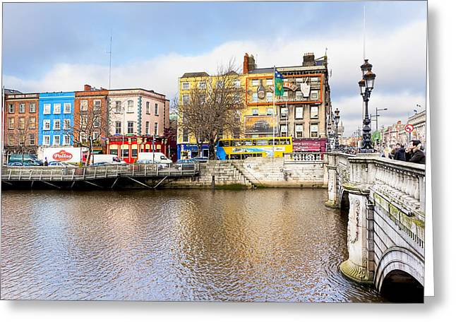 On A Walk Greeting Cards - Bachelors Walk - Dublin Quays Greeting Card by Mark Tisdale