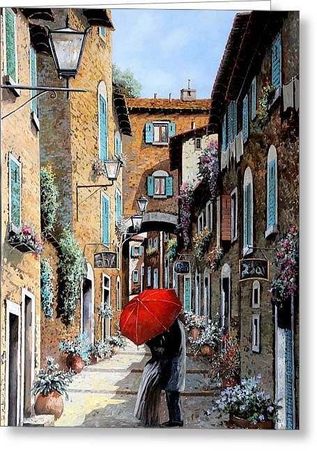 Old Street Paintings Greeting Cards - Baci Nel Vicolo Greeting Card by Guido Borelli