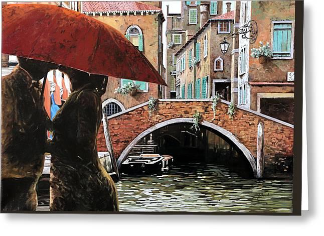 Baci Tra Le Calli Greeting Card by Guido Borelli