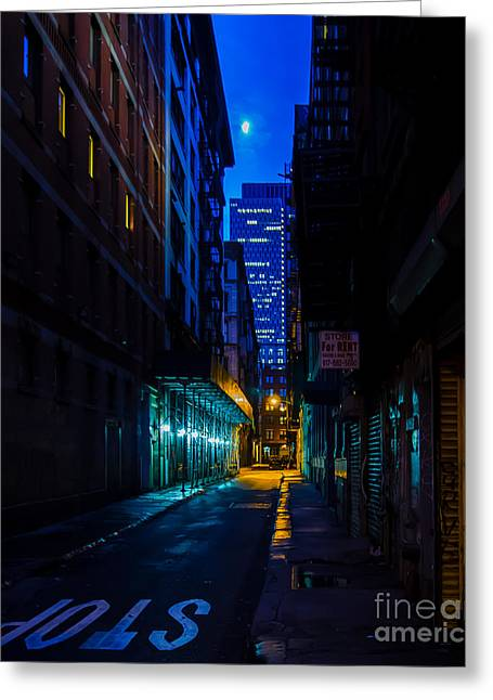 City Lights Greeting Cards - Back Alley Beauty Greeting Card by James Aiken