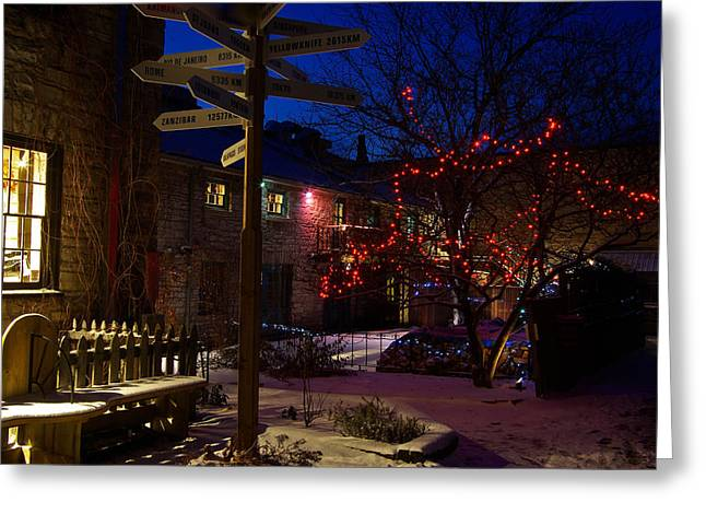 Paul Wash Greeting Cards - Back Alley Lights Greeting Card by Paul Wash