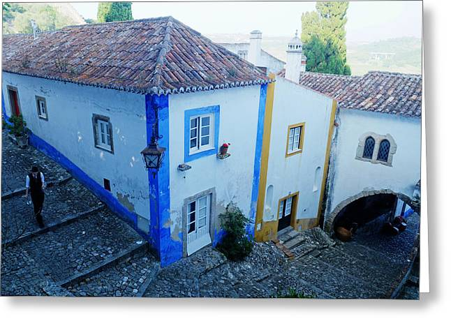 Wine-glass Greeting Cards - Back Alley Maitre D- Obidos Greeting Card by Nelson Anastacio