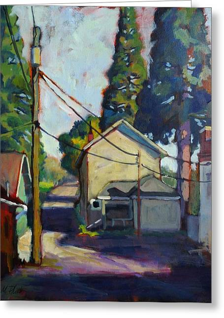 Back Alley Greeting Card by Margaret  Plumb