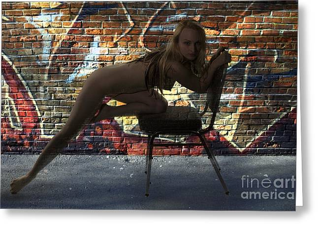 Female Nude Greeting Cards - Back Alley Silhouette 1075 .02 Greeting Card by Kendree Miller