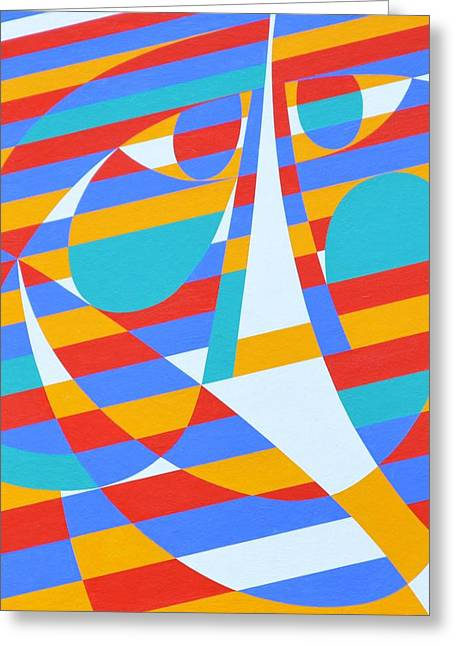 Hard Edged Greeting Cards - Back And Back, 2006 Acrylic On Board Greeting Card by Ron Waddams
