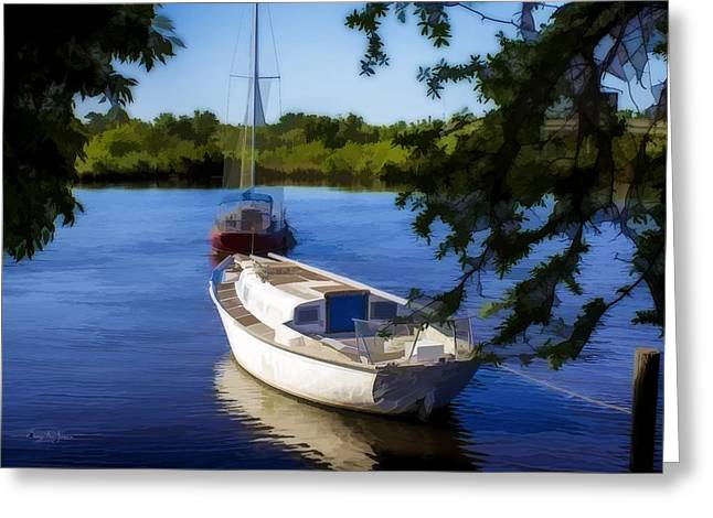 Barry Styles Greeting Cards - Back Bay Mooring-WC Greeting Card by Barry Jones