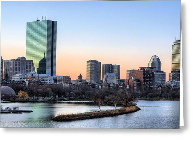 Hancock Greeting Cards - Back Bay Sunrise Greeting Card by JC Findley