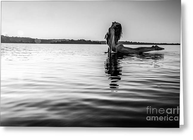 Floating Girl Greeting Cards - Back bend BW Greeting Card by Jh Photos