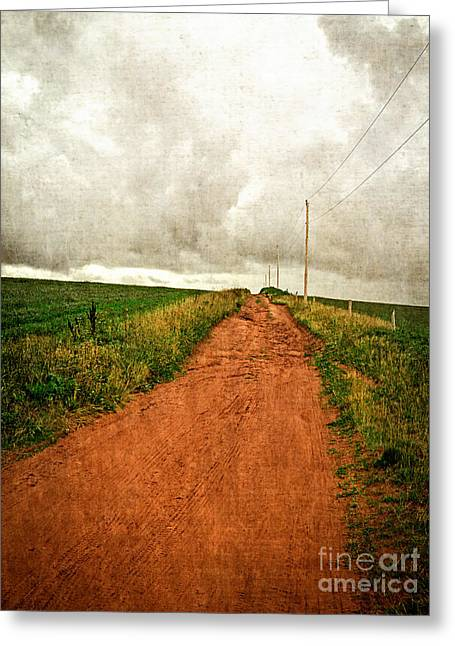 Storm Landscape Greeting Cards - the luminous land Back Country Road PEI Greeting Card by Edward Fielding