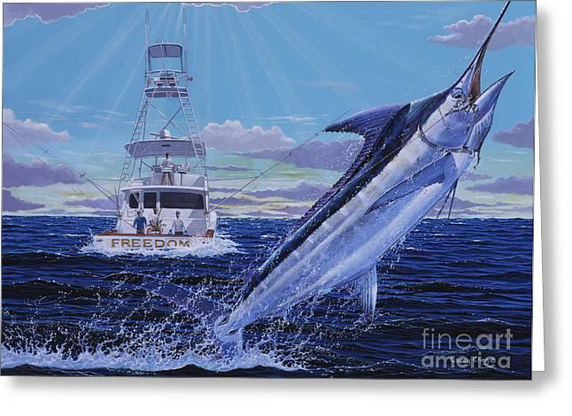 Sportfishing Boats Greeting Cards - Back Her Down Off00126 Greeting Card by Carey Chen