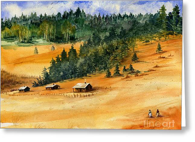 Old Fence Posts Paintings Greeting Cards - Back Home Greeting Card by Marilyn Smith