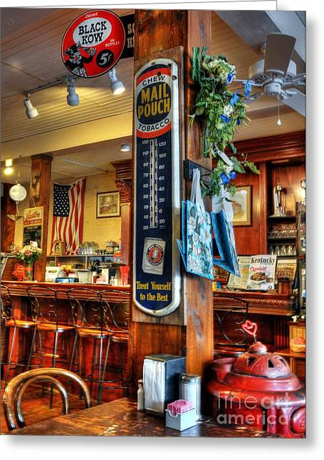 Old Diner Bar Stools Greeting Cards - Back In Time Greeting Card by Mel Steinhauer