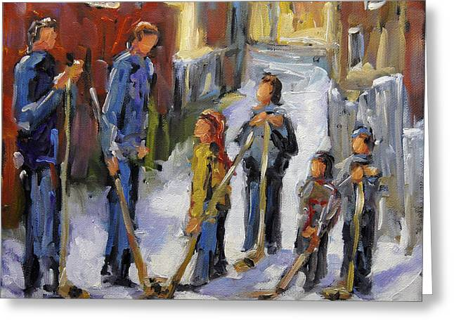 Hockey In Montreal Paintings Greeting Cards - Back Lane Hockey The Stand Off by Prankearts Greeting Card by Richard T Pranke