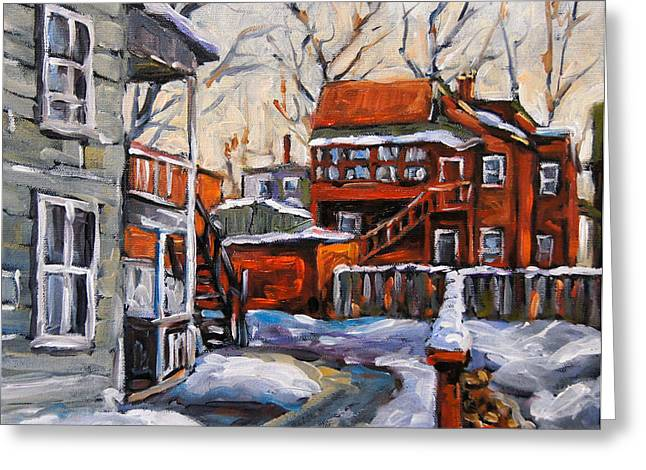 Montreal City Scapes Greeting Cards - Back Lanes 02 Montreal by Prankearts Greeting Card by Richard T Pranke