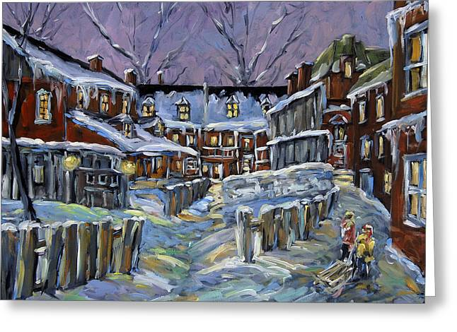 Canadian Rural Scene Created By Richard T Pranke Greeting Cards - Back lanes buddies by Prankearts Greeting Card by Richard T Pranke