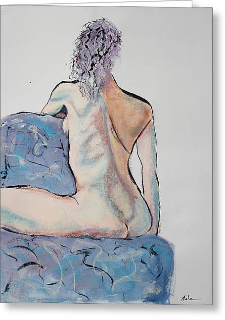 Loose Hair Greeting Cards - Back of a Woman Straddling a Chair Greeting Card by Asha Carolyn Young