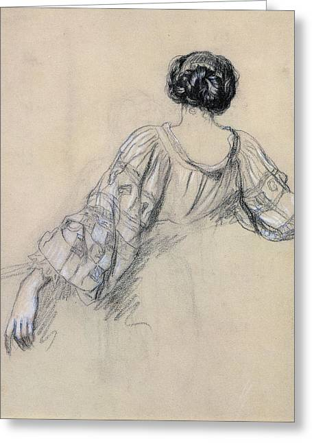 Twentieth Century Drawings Greeting Cards - Back of a Young Woman Greeting Card by Antoine Auguste Ernest Herbert