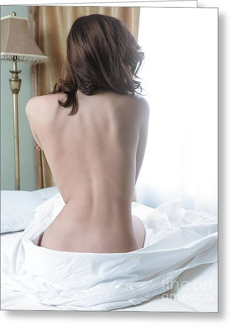 Healthy Sexuality Greeting Cards - Back of a young woman sitting naked on bed Greeting Card by Oleksiy Maksymenko