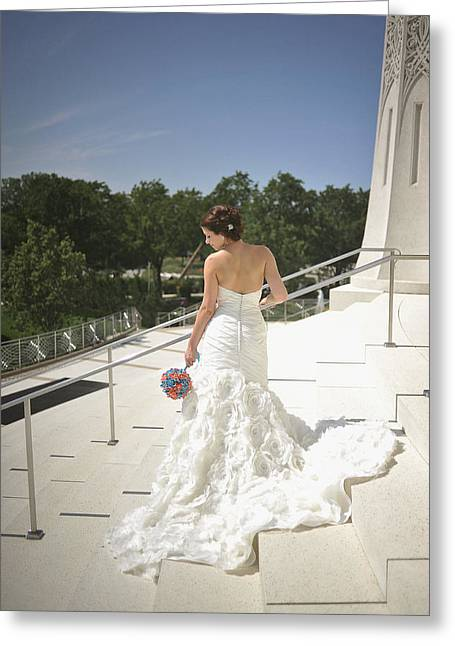 Strapless Dress Greeting Cards - Back of Bride at Bahai Temple Greeting Card by Mike Hope