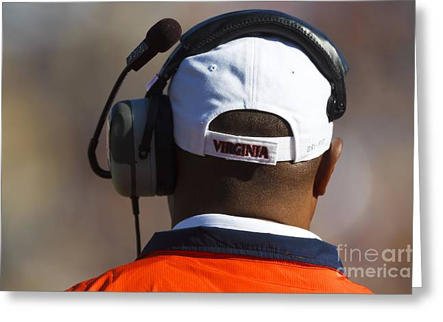 Back Of Mike London Head With Headset Virginia Cavaliers Greeting Card by Jason O Watson
