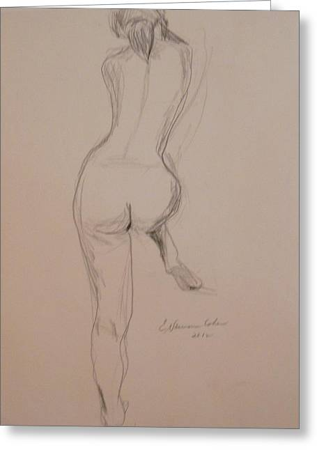 Posters Of Nudes Greeting Cards - Back of Nude with Foot Up Greeting Card by Esther Newman-Cohen